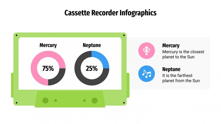 Modelo de apresentação Infográficos com cassetes