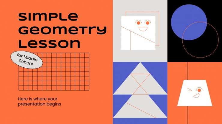 Simple Geometry Lesson for Middle School presentation template