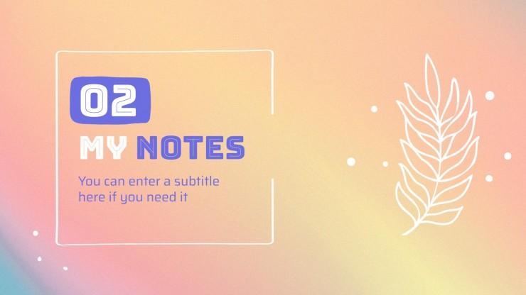 Plantilla de presentación Bonitas notas de garabatos y degradados en color pastel