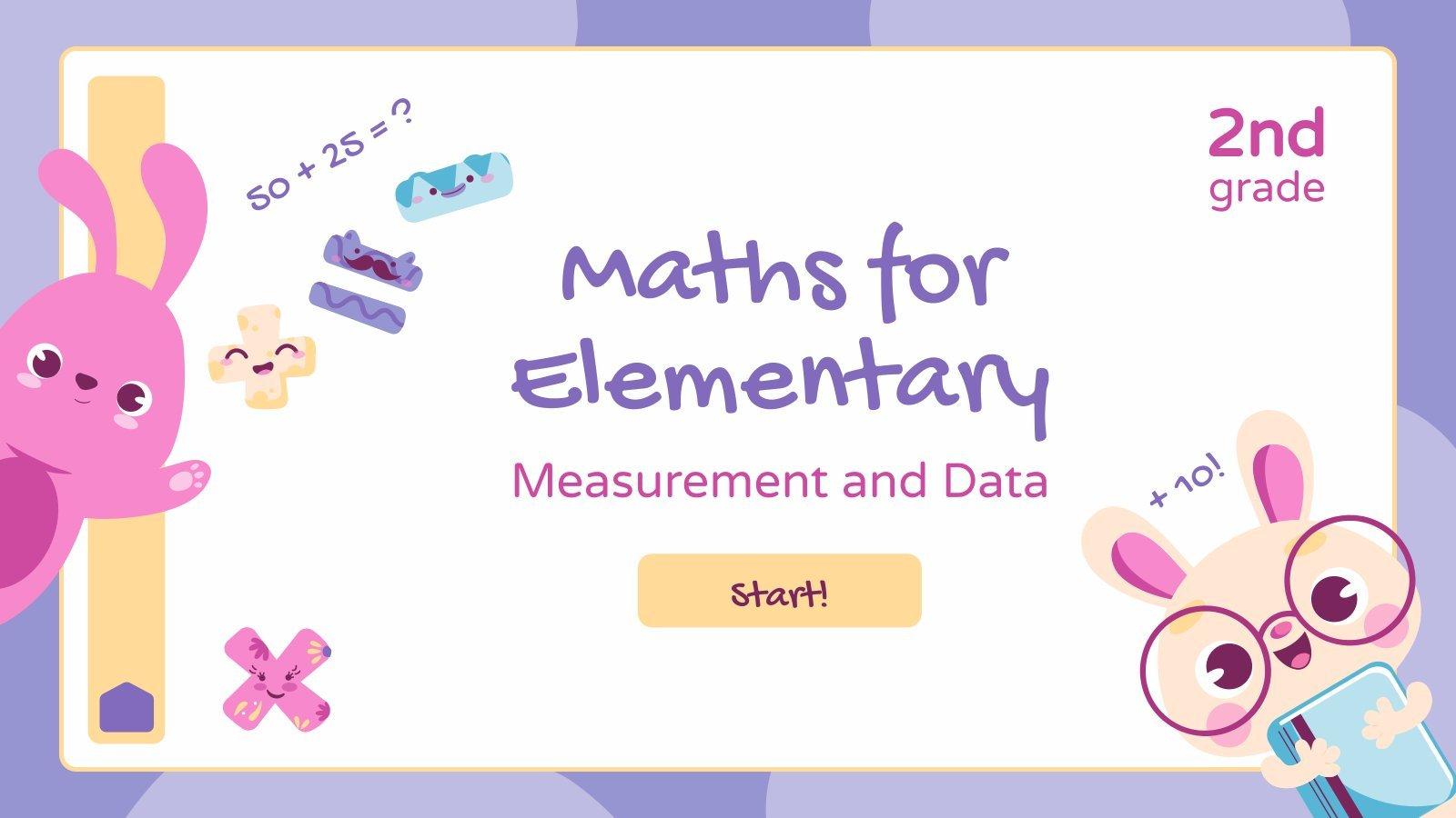 Plantilla de presentación Matemáticas para 2º de primaria - Medidas y datos