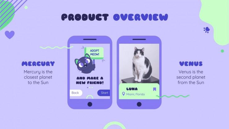 Plantilla de presentación Aplicación Adopta un gato