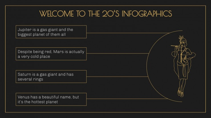 Modelo de apresentação Infográficos os loucos anos 1920