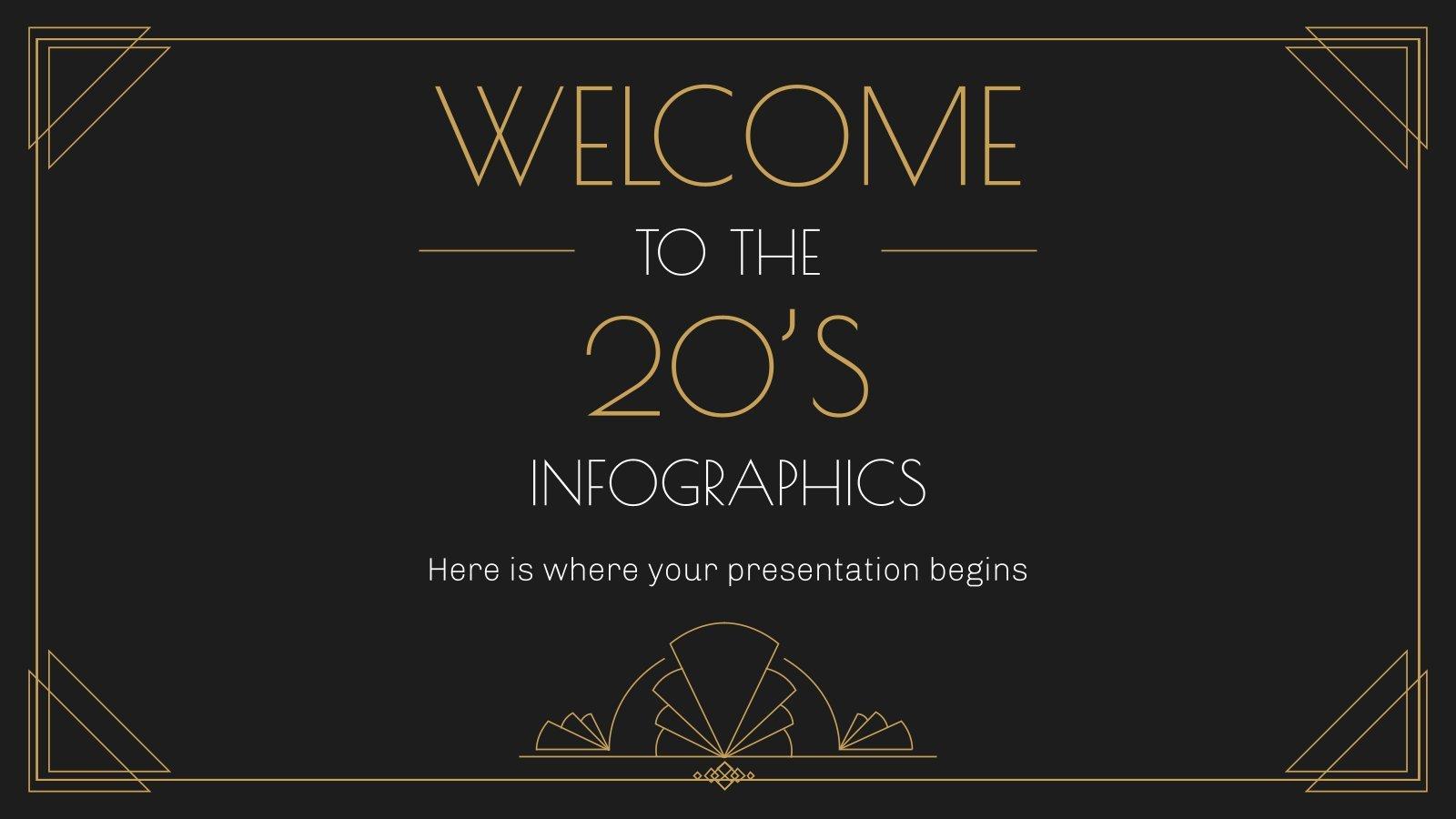 Plantilla de presentación Infografías vuelta a los años 20
