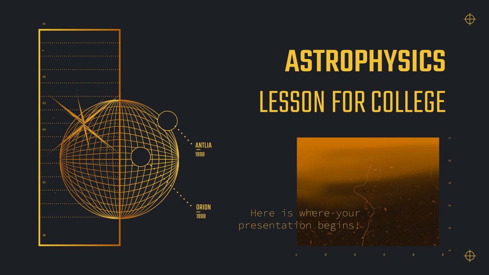 Cours d'astrophysique pour l'université : Modèles de présentation