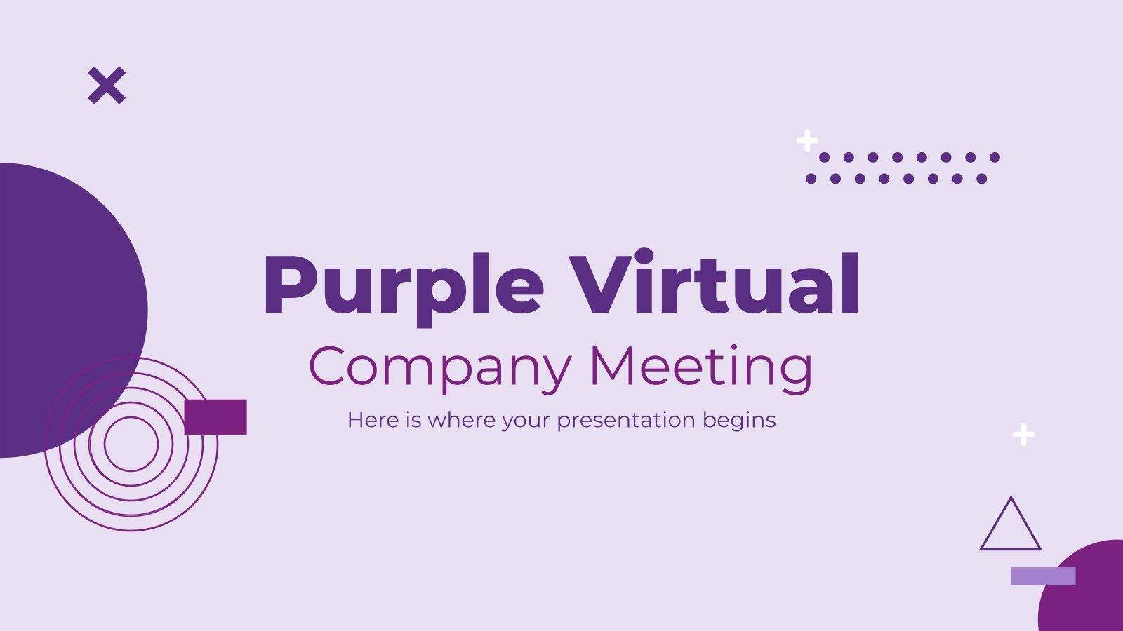 Plantilla de presentación Reunión virtual púrpura