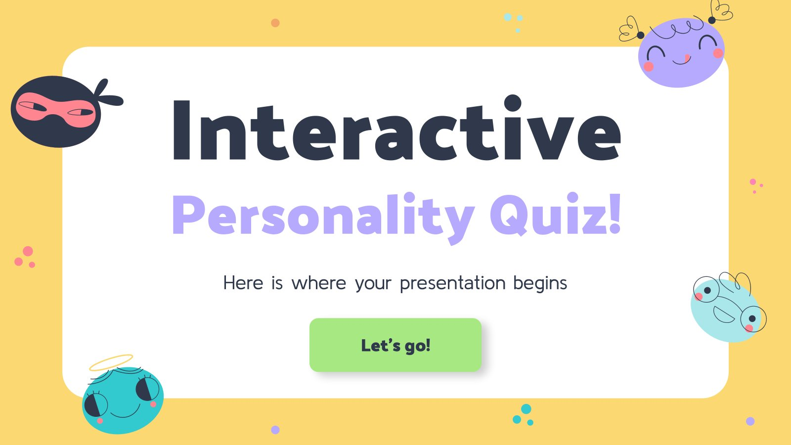 Interactive Personality Quiz presentation template