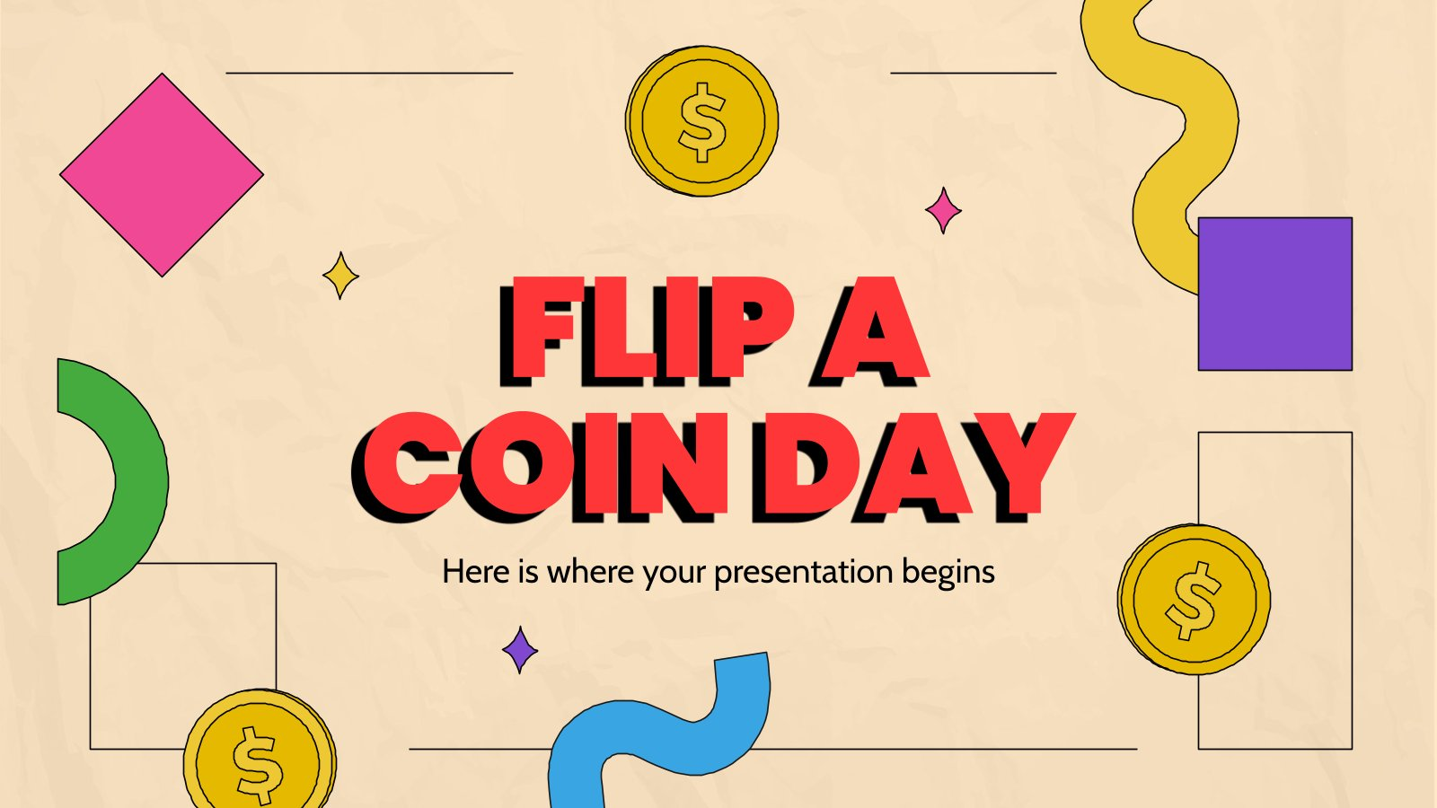 Flip a Coin Day presentation template