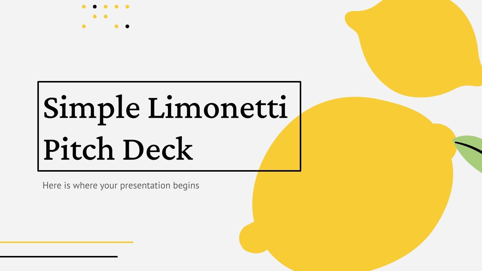 Modelo de apresentação Pitch deck simples Limonetti