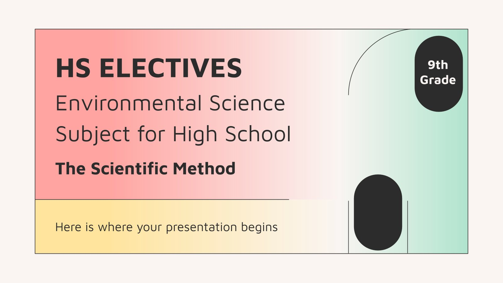 HS Electives: Environmental Science Subject for High School - 9th Grade: The Scientific Method presentation template