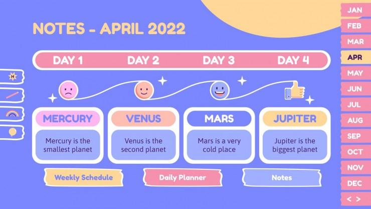 Magischer Sticker-Planer für Studenten Präsentationsvorlage