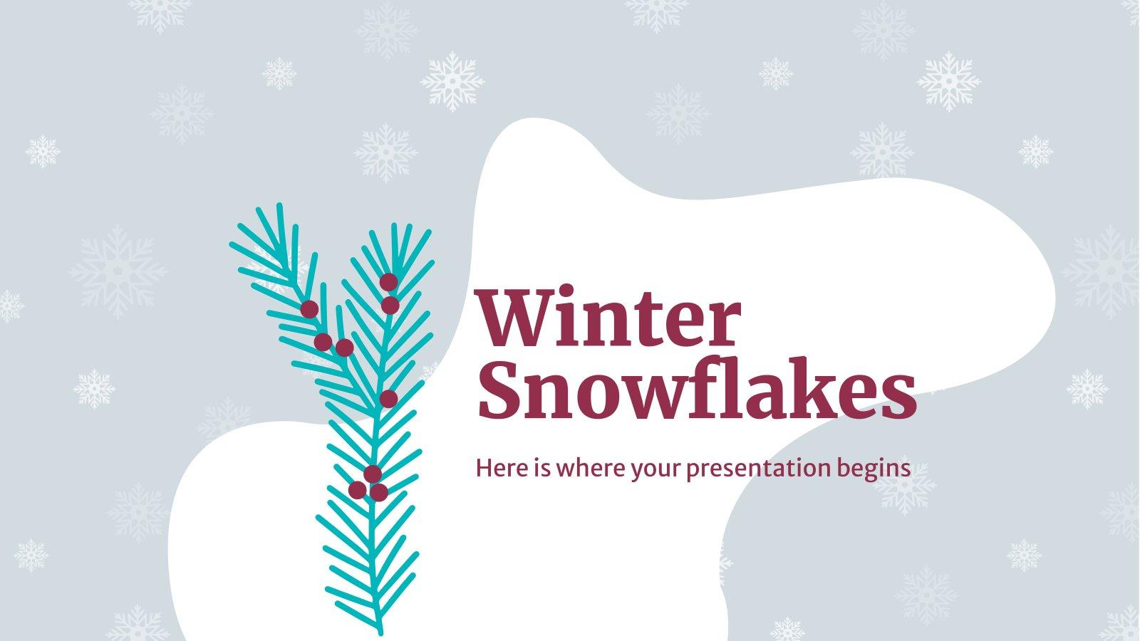 Winter Schneeflocken Präsentationsvorlage