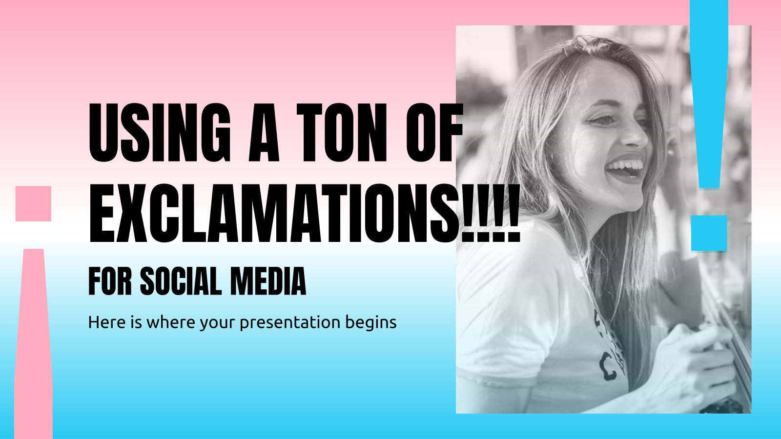 Using a Ton Of Exclamations!!!! for Social Media presentation template