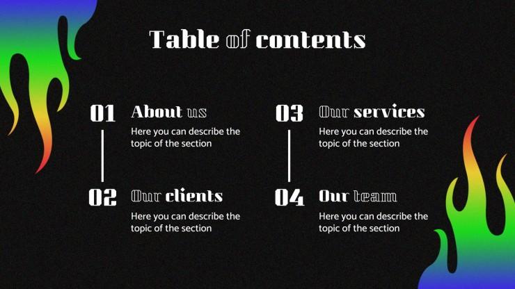 Modelo de apresentação Design flamejante para agências