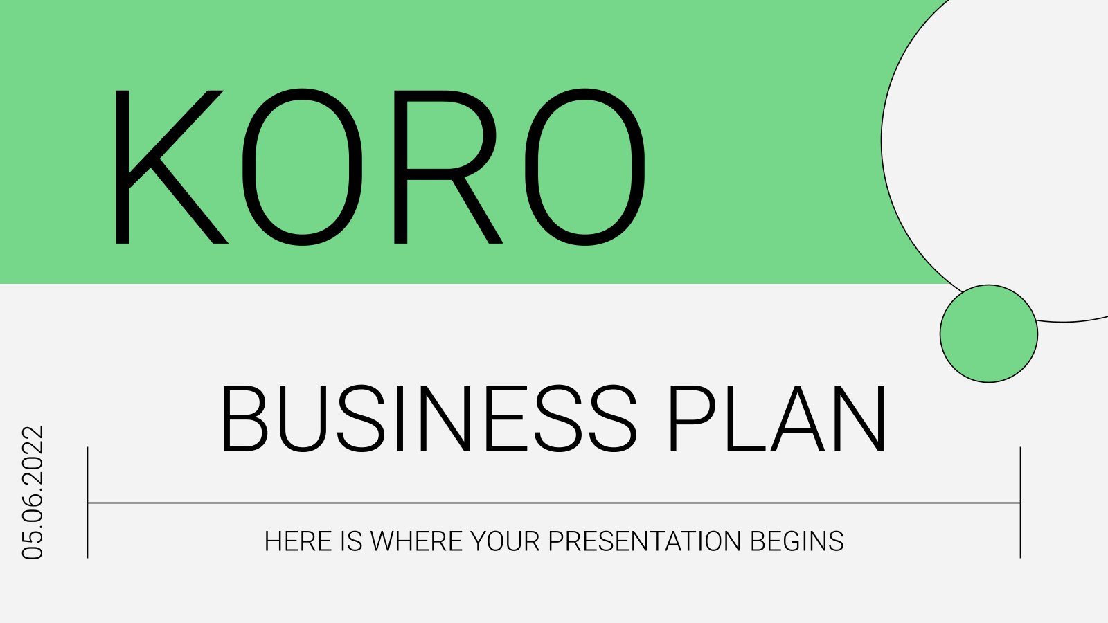 Koro Business Plan presentation template