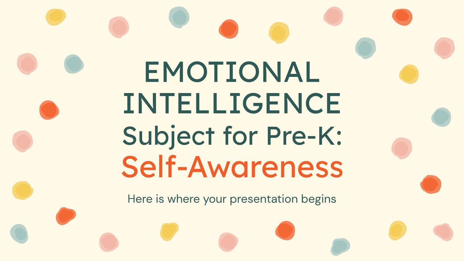 Emotional Intelligence Subject for Pre-K: Self-Awareness presentation template