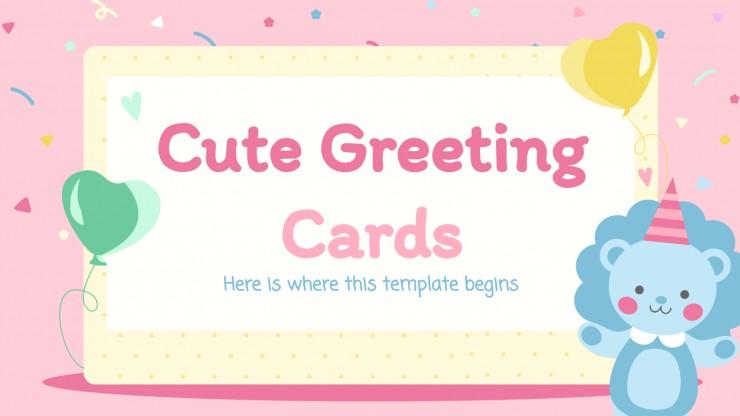 Plantilla de presentación Tarjetas de felicitación adorables
