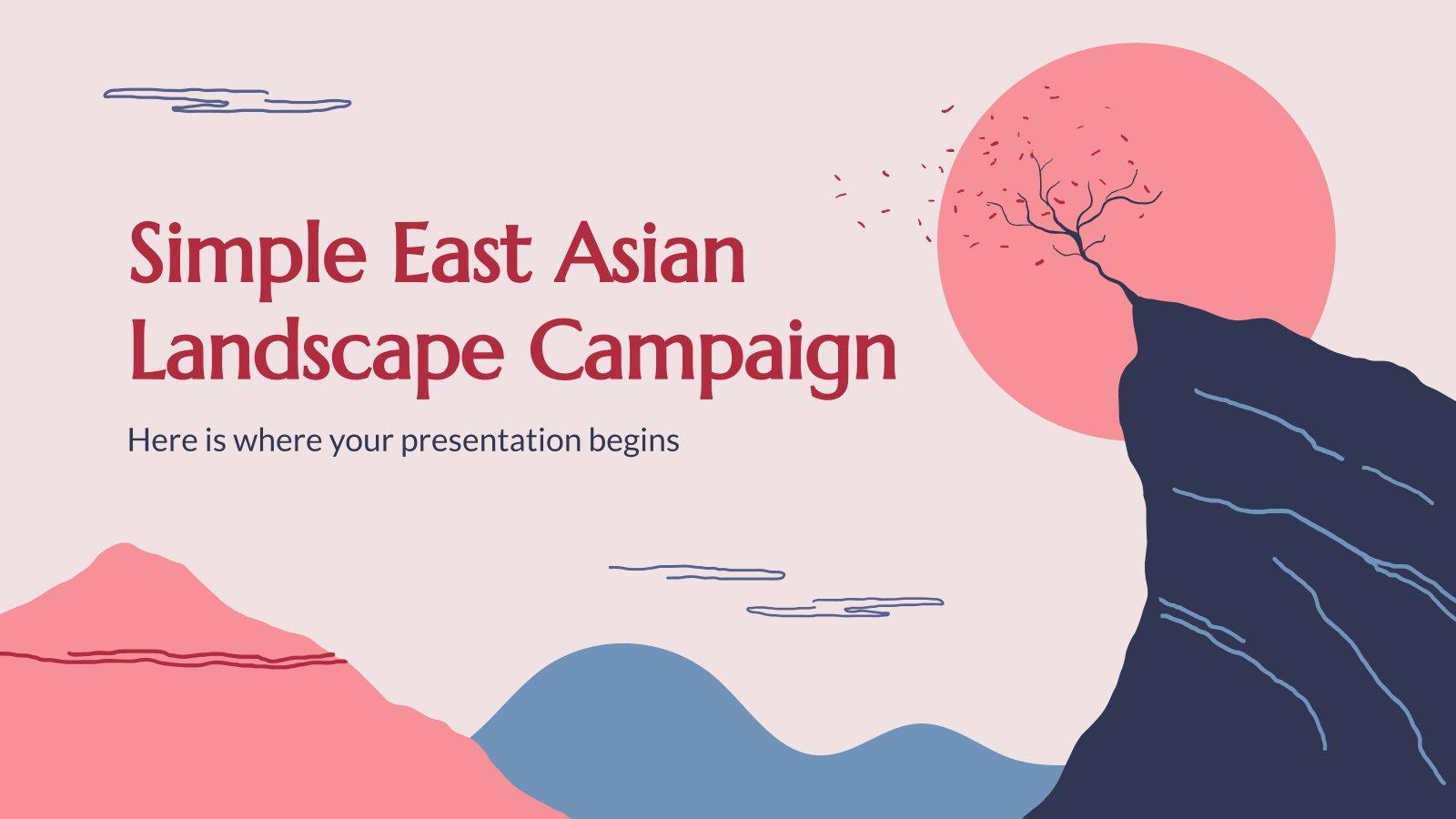 Plantilla de presentación Campaña de paisaje oriental simple