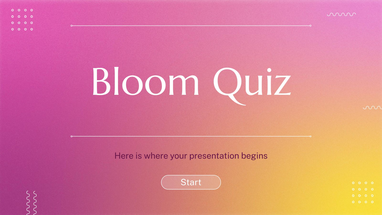 Bloom Quiz presentation template