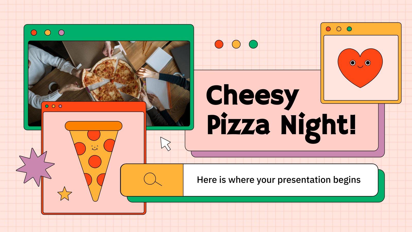 Cheesy Pizza Night presentation template