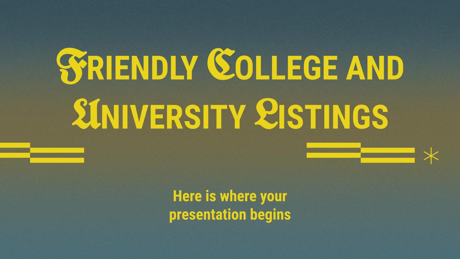 Plantilla de presentación Listado de universidades