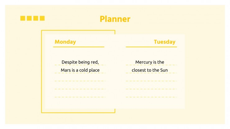 Gelber Business-Kalender Präsentationsvorlage