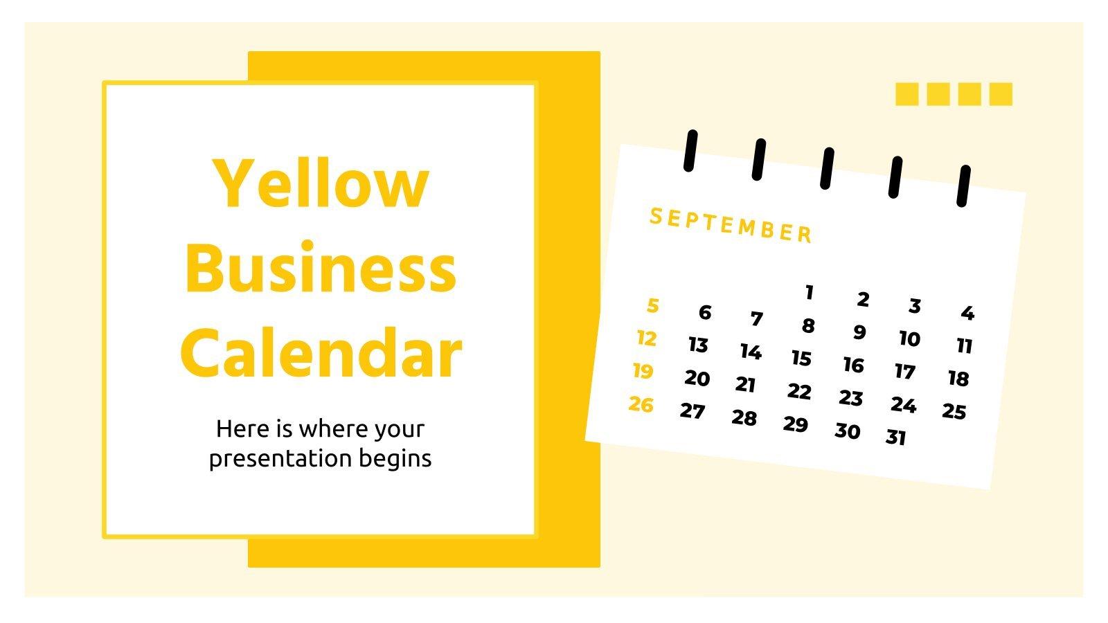Modelo de apresentação Calendário amarelo para empresas
