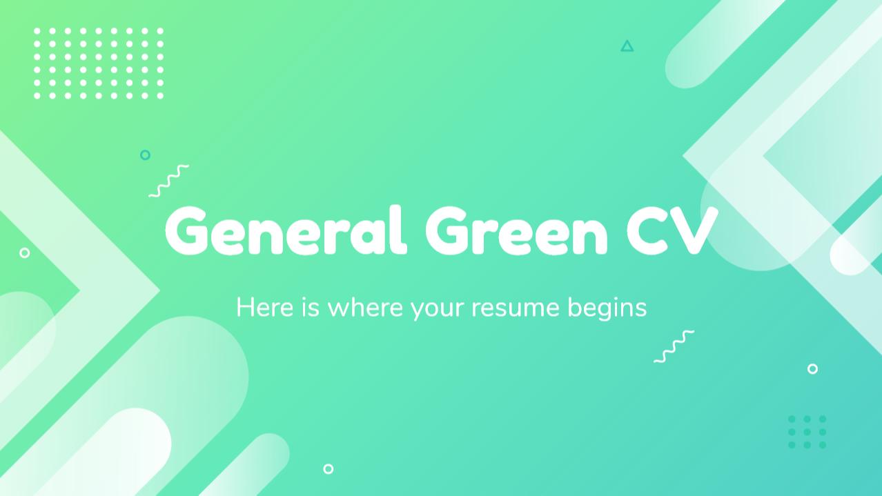 Modelo de apresentação CV verde genérico