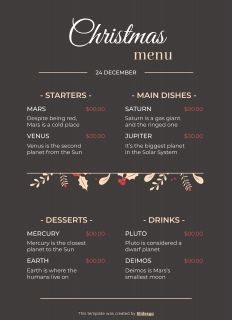 Christmas Menu A4 presentation template