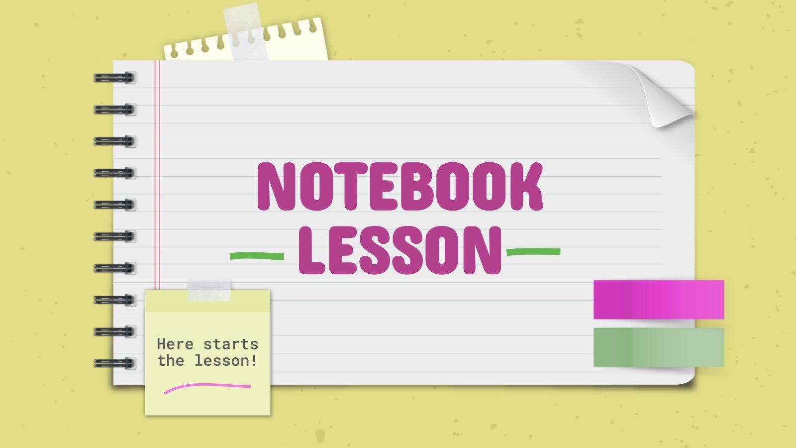 Notizbuch-Lektion Präsentationsvorlage