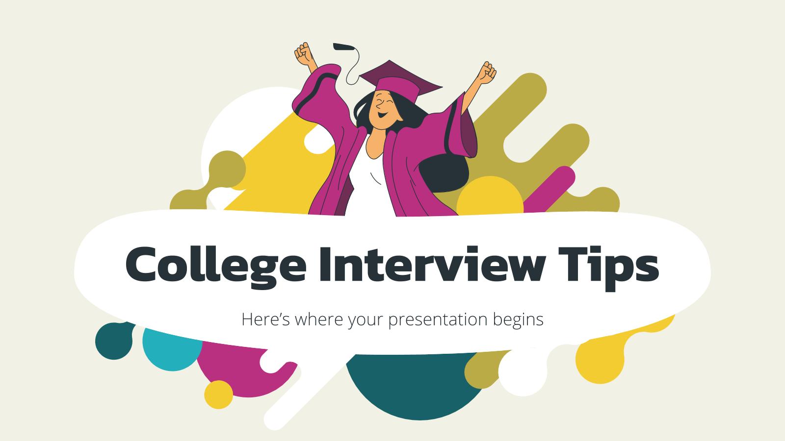 Plantilla de presentación Consejos para entrevistas de ingreso a la universidad