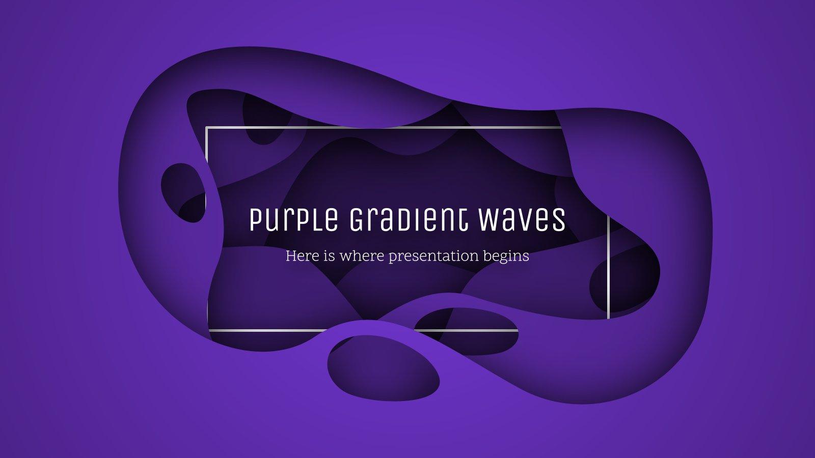 Wellen mit lila Farbverlauf Präsentationsvorlage