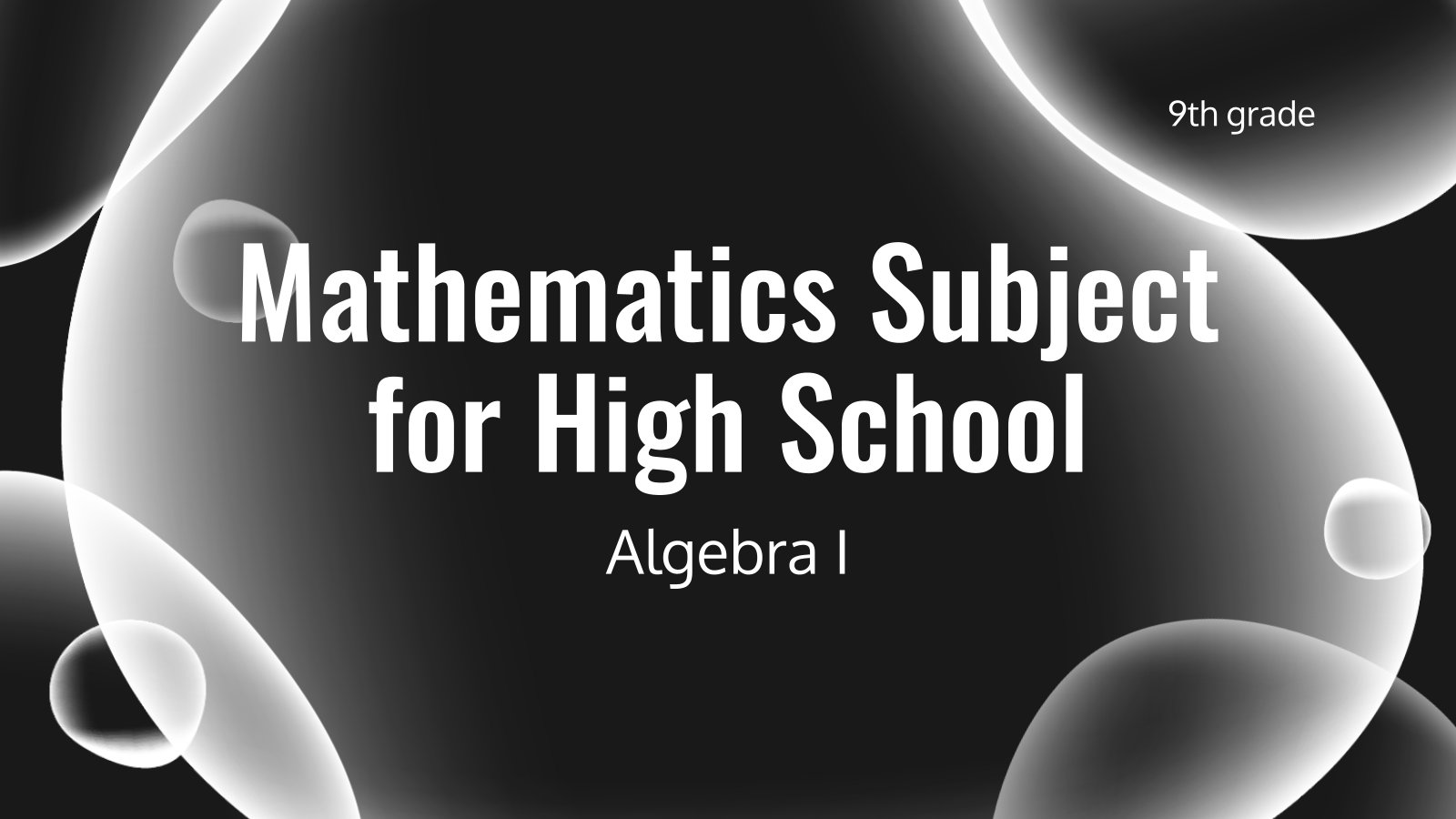 Modelo de apresentação Matemática para o ensino médio: Álgebra I