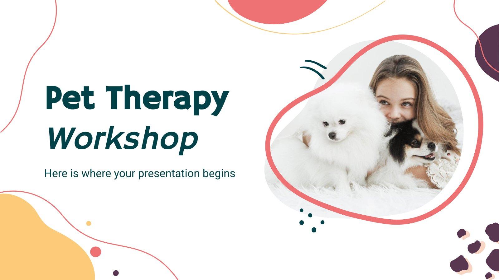 Plantilla de presentación Taller de terapia con mascotas