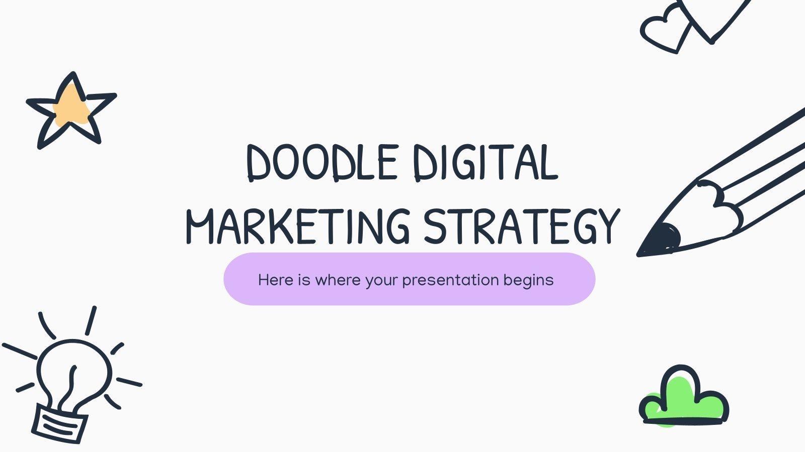 Stratégie de marketing numérique avec des doodles : Modèles de présentation