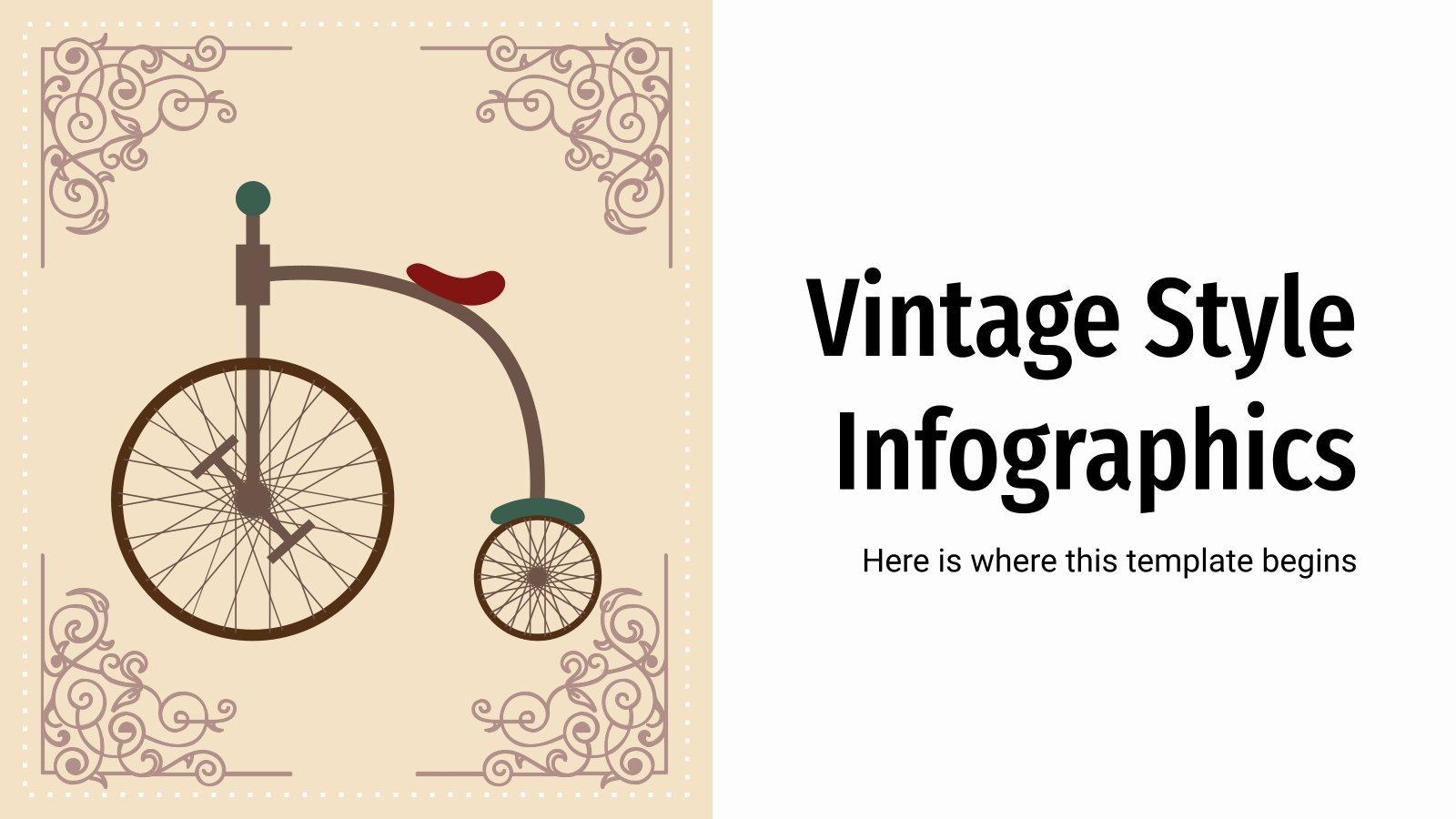 Infografiken im Vintage-Stil Präsentationsvorlage