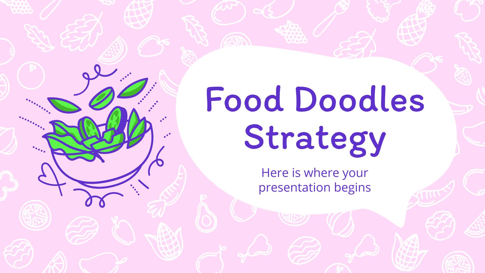 Plantilla de presentación Diapositivas de marketing con doodles de alimentos