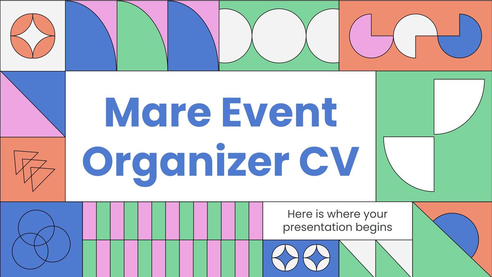 Modelo de apresentação CV de planejador de eventos Mare