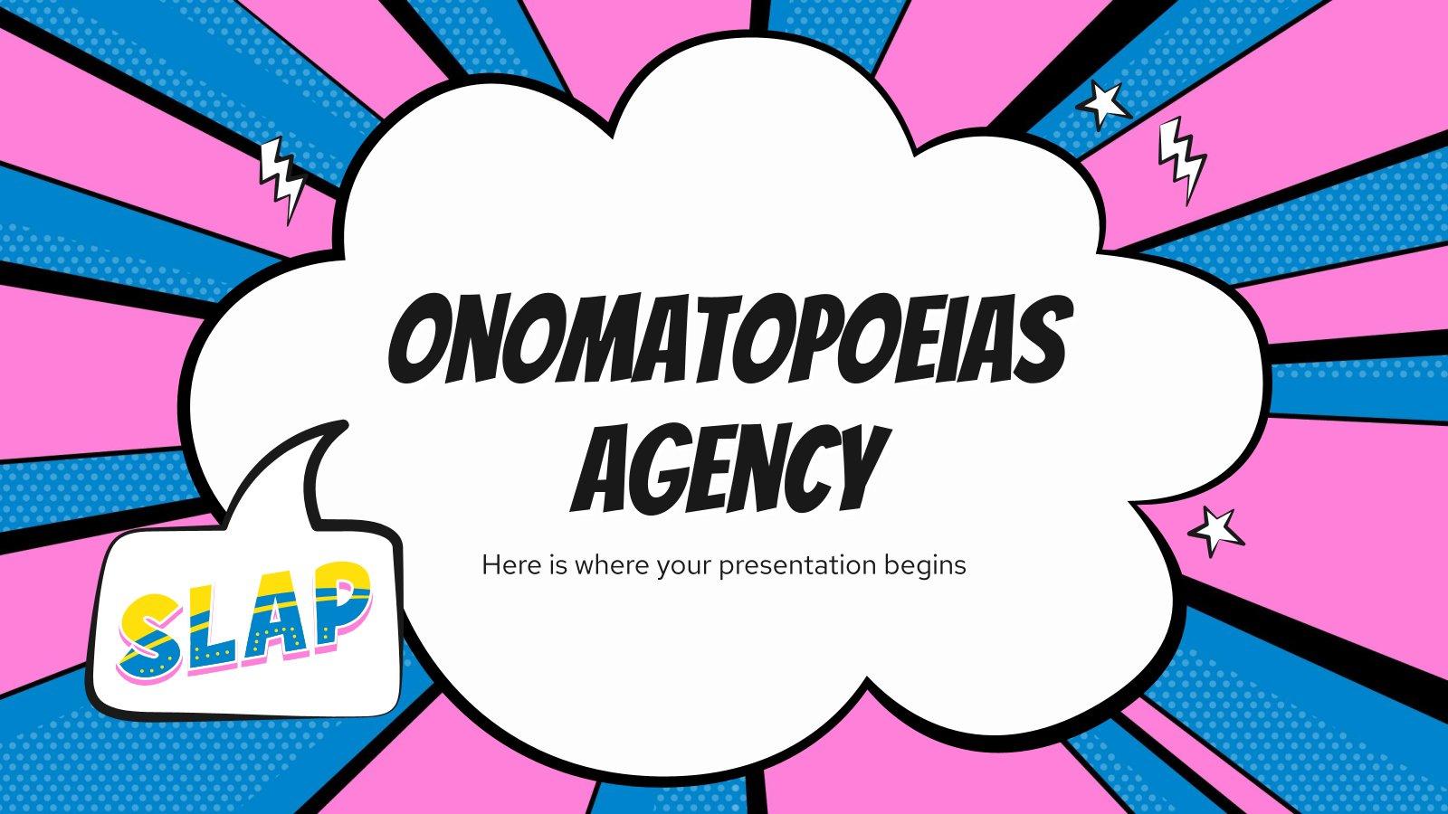 Plantilla de presentación Agencia onomatopeyas