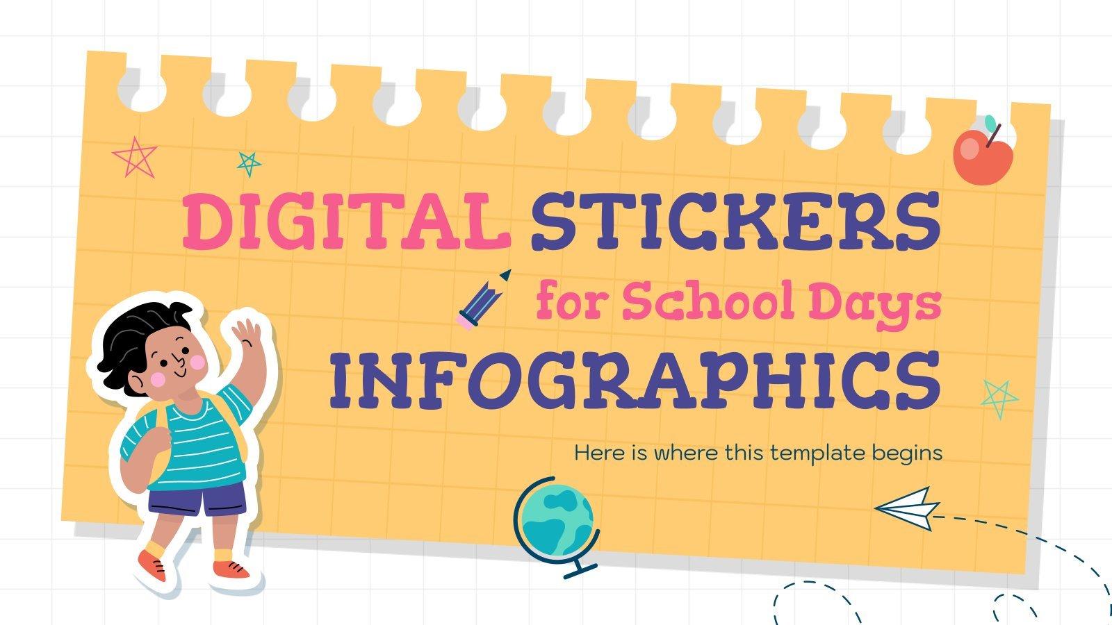 Modelo de apresentação Infográficos de adesivos digitais para a escola