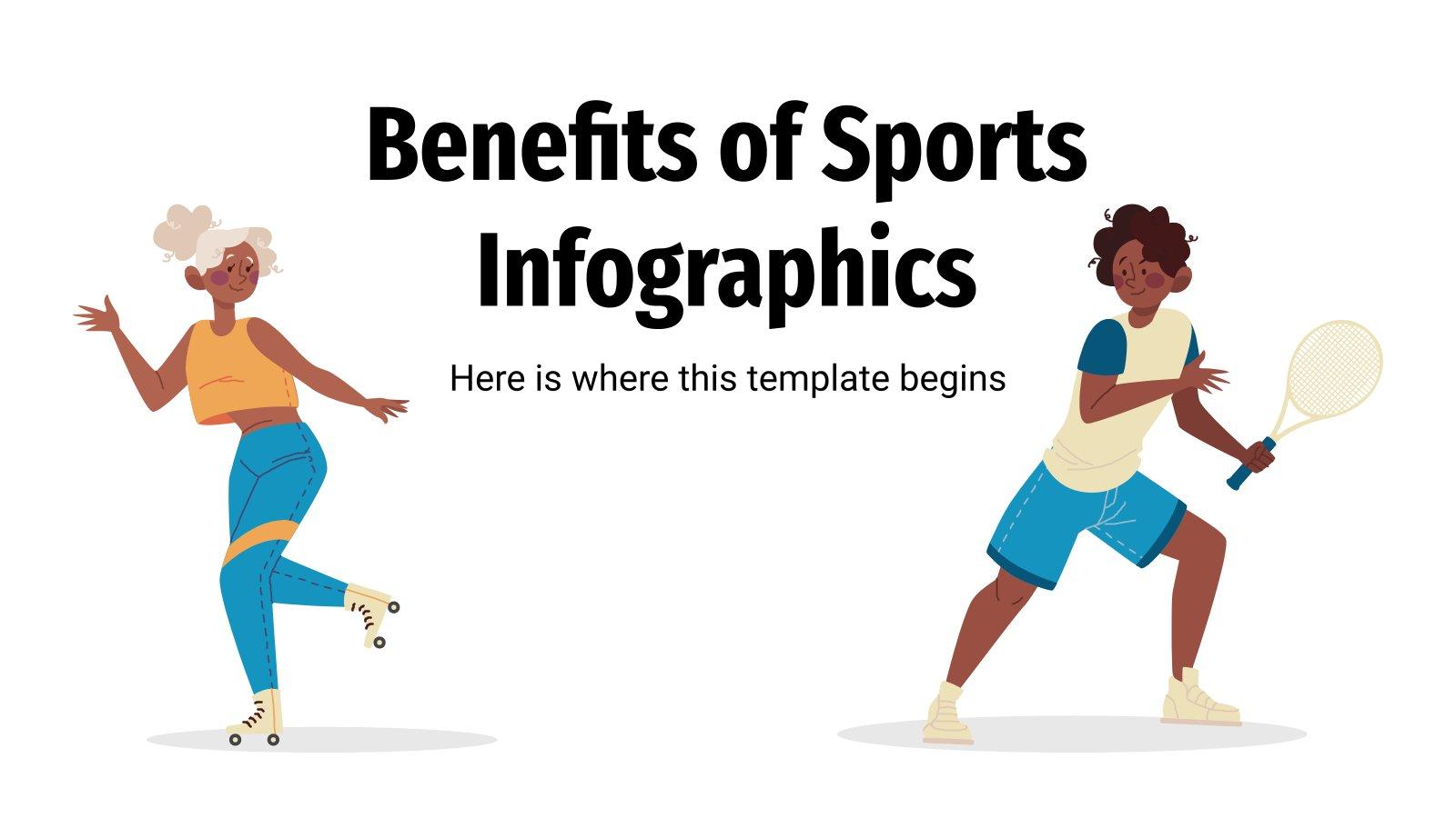 Infografiken zu den Vorteilen von Sport Präsentationsvorlage