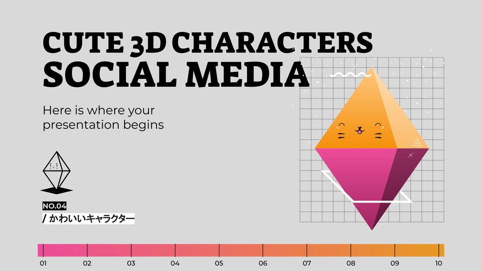 Cute 3D Characters Social Media presentation template