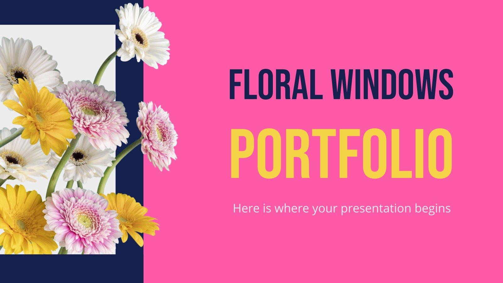 Blumenfenster Portfolio Präsentationsvorlage