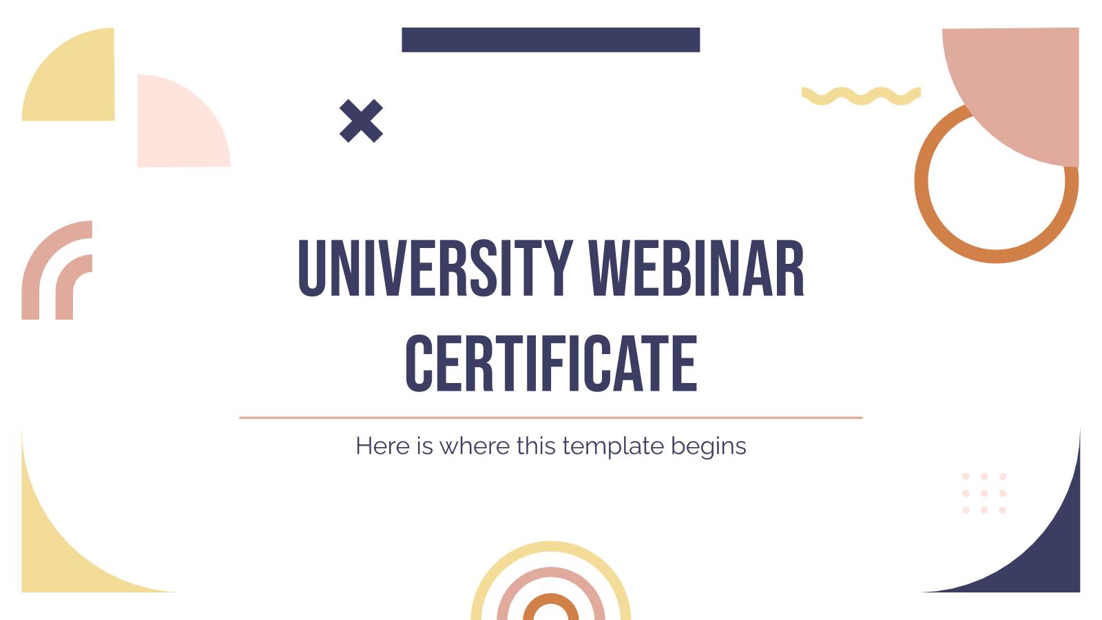 Certificat de webinaire universitaire : Modèles de présentation