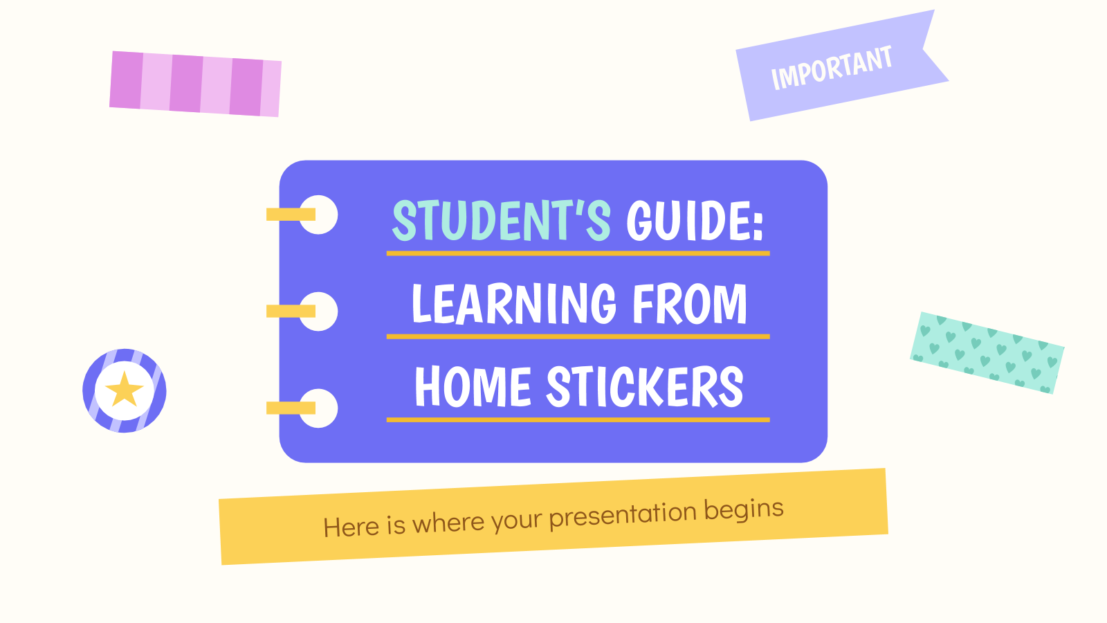 Student's Guide: Learning from Home Stickers presentation template