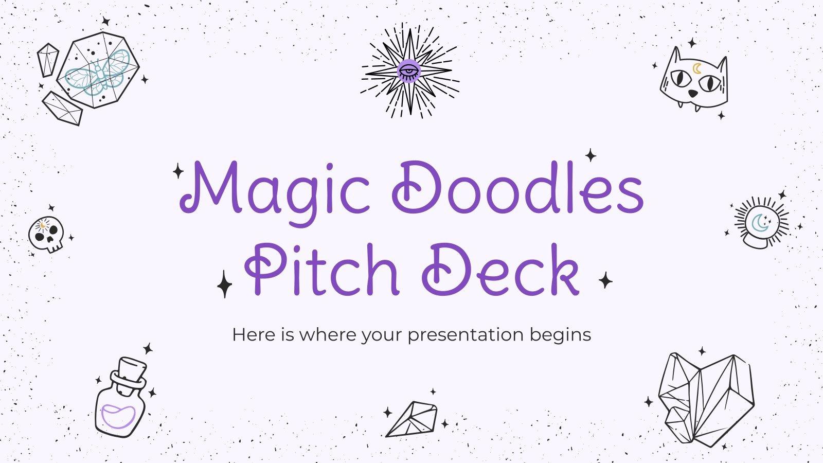 Pitch deck magique avec des gribouillis : Modèles de présentation