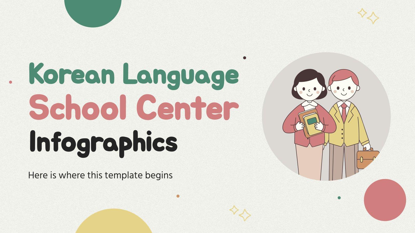 Modelo de apresentação Infográficos de centro de idiomas: coreano