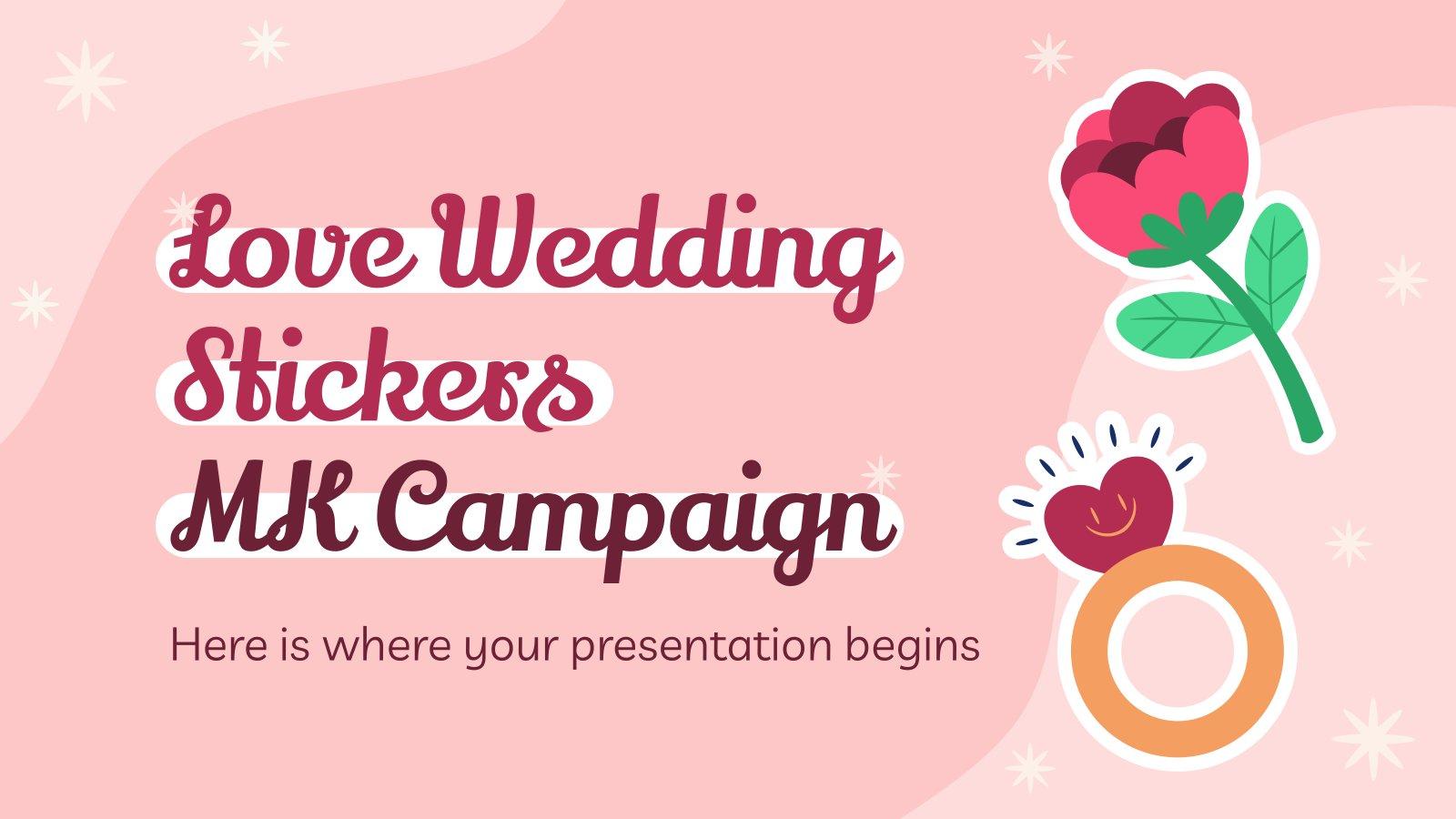Love Wedding Stickers MK Plan presentation template