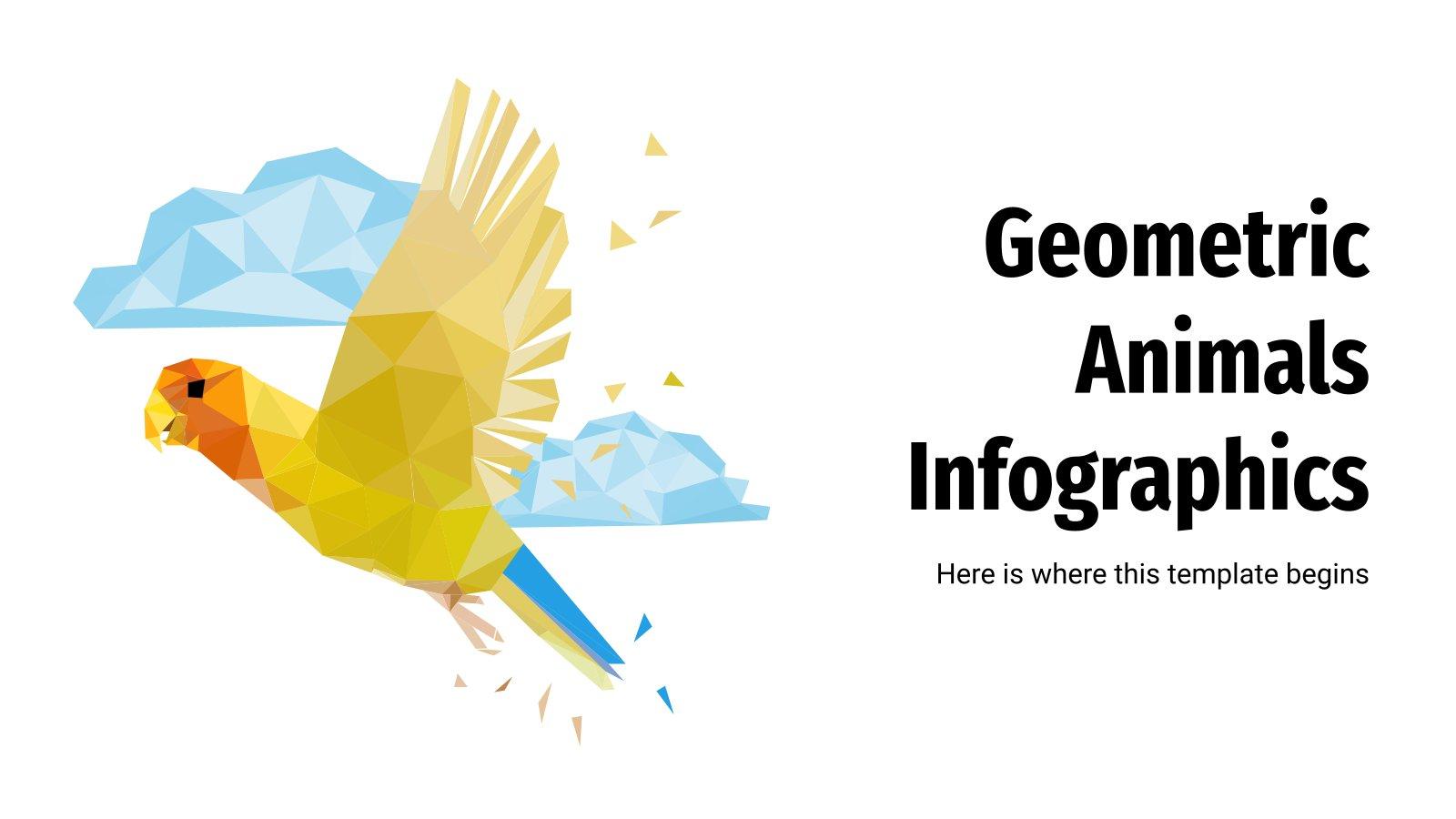 Modelo de apresentação Infográficos geométricos de animais
