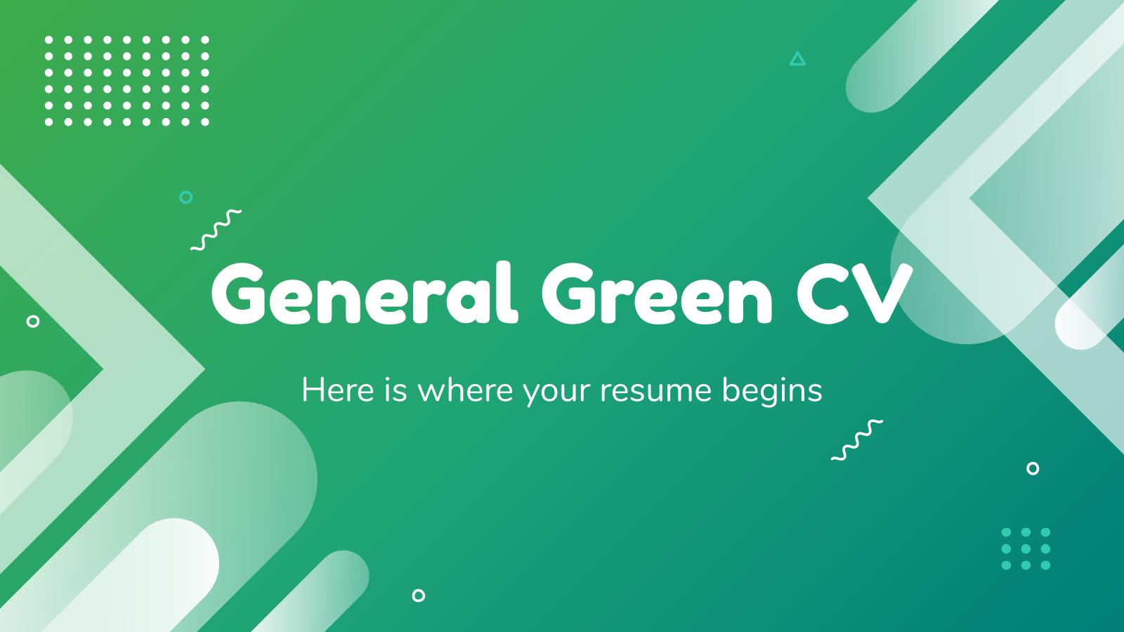 Plantilla de presentación Currículum verde