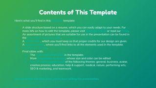 General Green CV presentation template